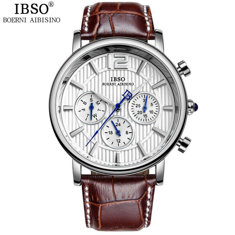 Original IBSO Complete Calendar Watches Men Multifunction Man Watch Week Display Genuine Leather Strap Erkek Kol Saati 2018 new fashion men watches top brand luxury guanqin quartz watch men s big dial designer male wristwatch relogio masculino
