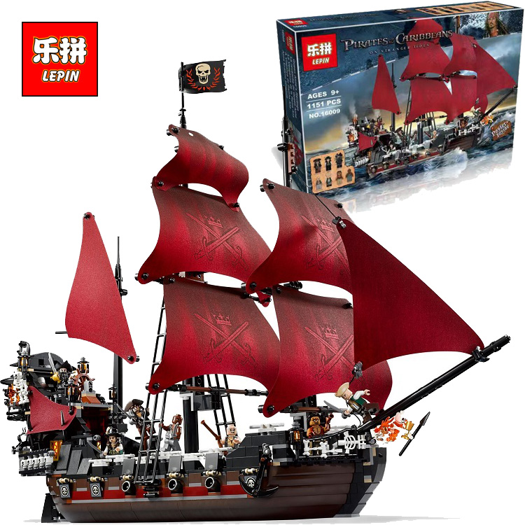ФОТО LEPIN 16009 Movie Series Queen Anne's revenge Pirates of the Caribbean Building Block Set Compatible with 4195 toy gift ship