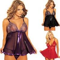 Plus Size 5XL 6XL Sexy Lingerie Women Diaphanous Pajama Lace Dress Sleepwear Strap Nightdress With G