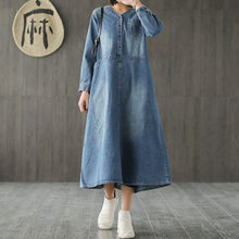 Johnature 2019 New Style Casual Cotton v-neck Loose Plus Size Denim Dress Female Spring Long Sleeve Ladies Demin Dress(China)