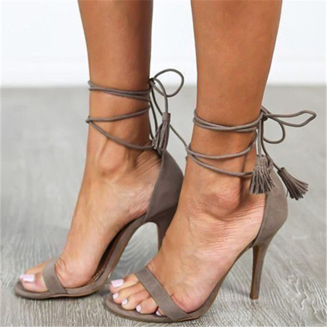 193fbe348 Open Toe Gladiator Sandals Women Pumps Nude Strappy Heels Stiletto Tassels  Summer Shoes Woman Cutouts Party Shoes Zapatos Mujer