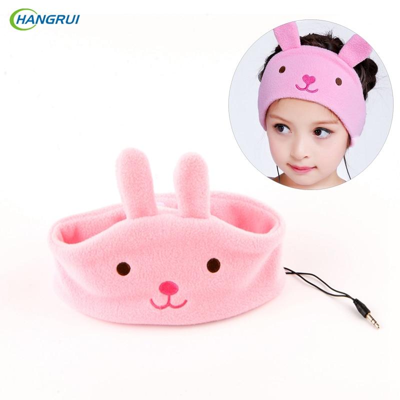 bilder für HANGRUI Kinder Stirnband Kopfhörer Kinder Einstellbar Karton Kopfhörer Super Bequeme Soft-fleece-hundestrickjacke Headset schützen babys Ohr