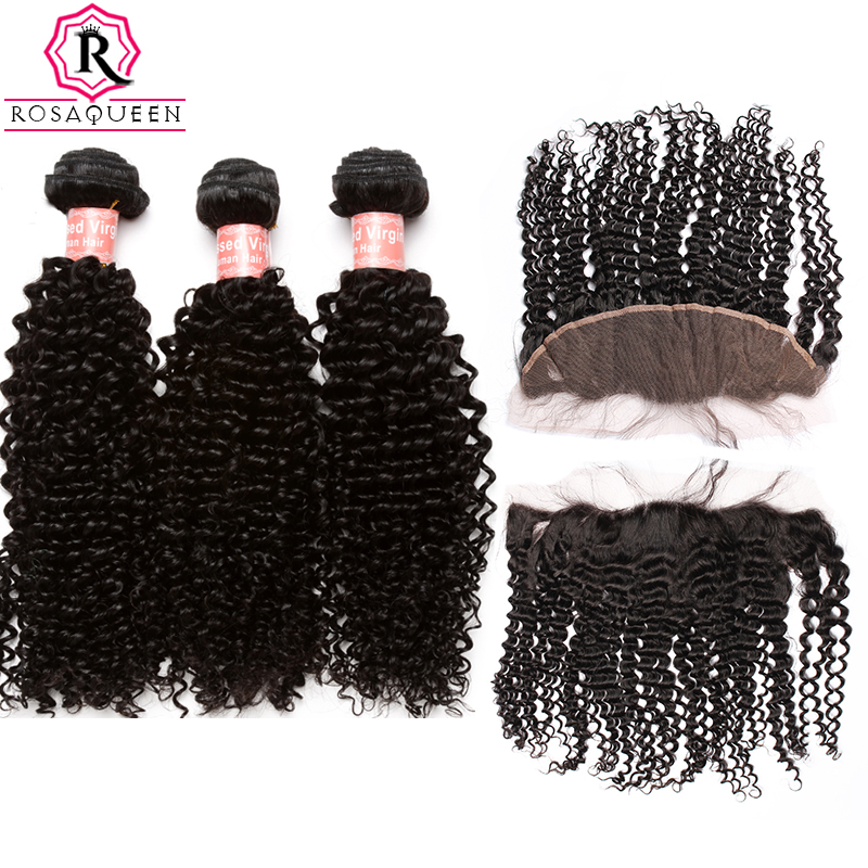 Brazilian Human Hair Bundles With Closure Kinky Curly Hair Bundles With Closure 13X4 Frontal 4PCs Remy Rosa Queen Hair Products