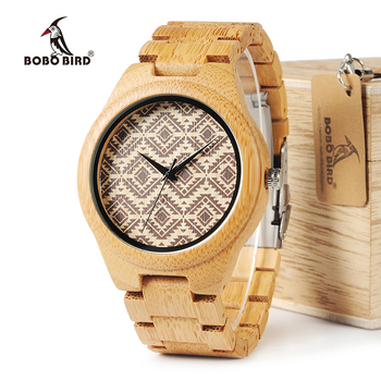 BOBO BIRD Bamboo Men Watch relogio masculino Partten Dial Face Bamboo Strap Quartz Wristwatch Men's Gift in Wooden Box W-I28 Network Switches