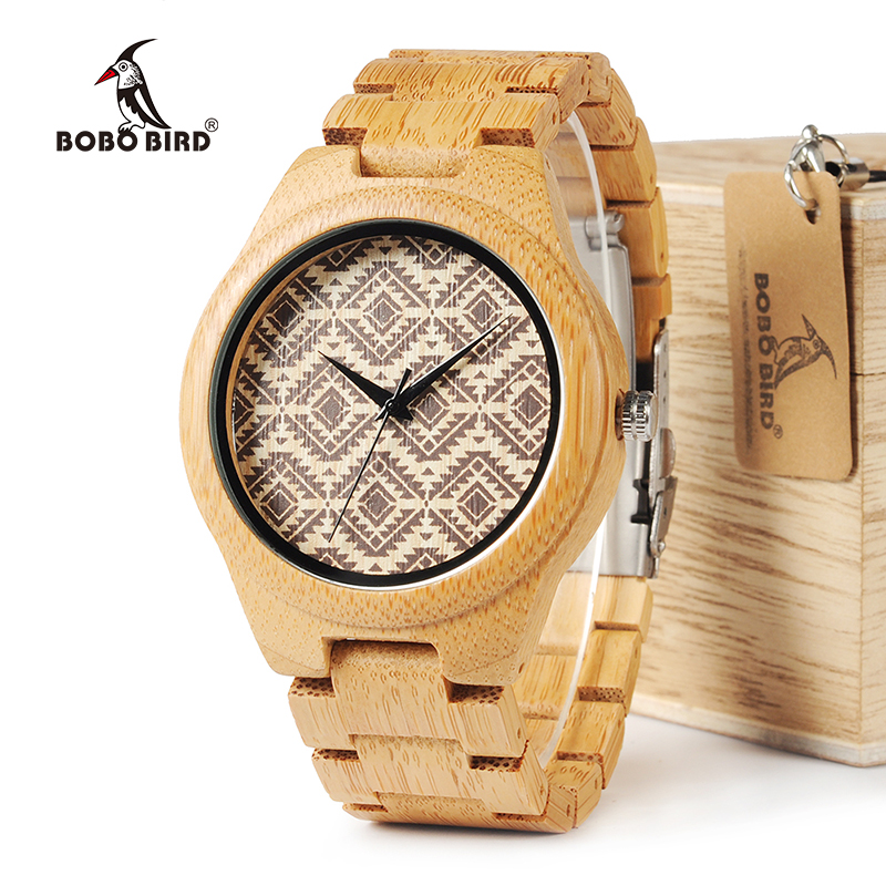 BOBO BIRD WI28 Nature Bamboo Mens Watch Wavy Lines Partten Dial Face Bamboo Strap Quartz Wristwatch As Gift Relogio new 100% handmade head deer elk dial design mens bamboo wood quartz watch with real leather strap for gift relogio masculino