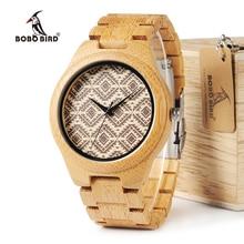 ボボ鳥竹メンズ腕時計レロジオ masculino Partten ダイヤル顔竹ストラップクォーツ腕時計男性のギフト木箱 w I28