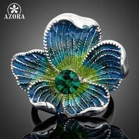 Platinum Plated Blue SWA ELEMENTS Austrian Crystal Multicolour Flower Pattern Ring FREE SHIPPING Azora TR0021