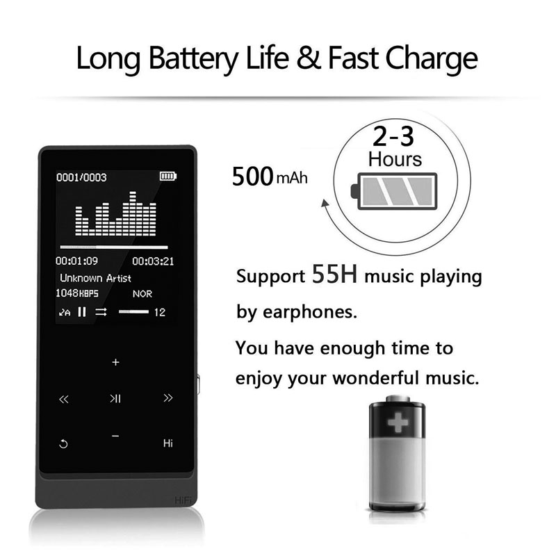 XIAOWU A7 Plus Bluetooth MP3 Music Player HiFi Touch Screen MP3 Player Speaker E-book FM Radio Clock Walkman 8G Photo Viewer