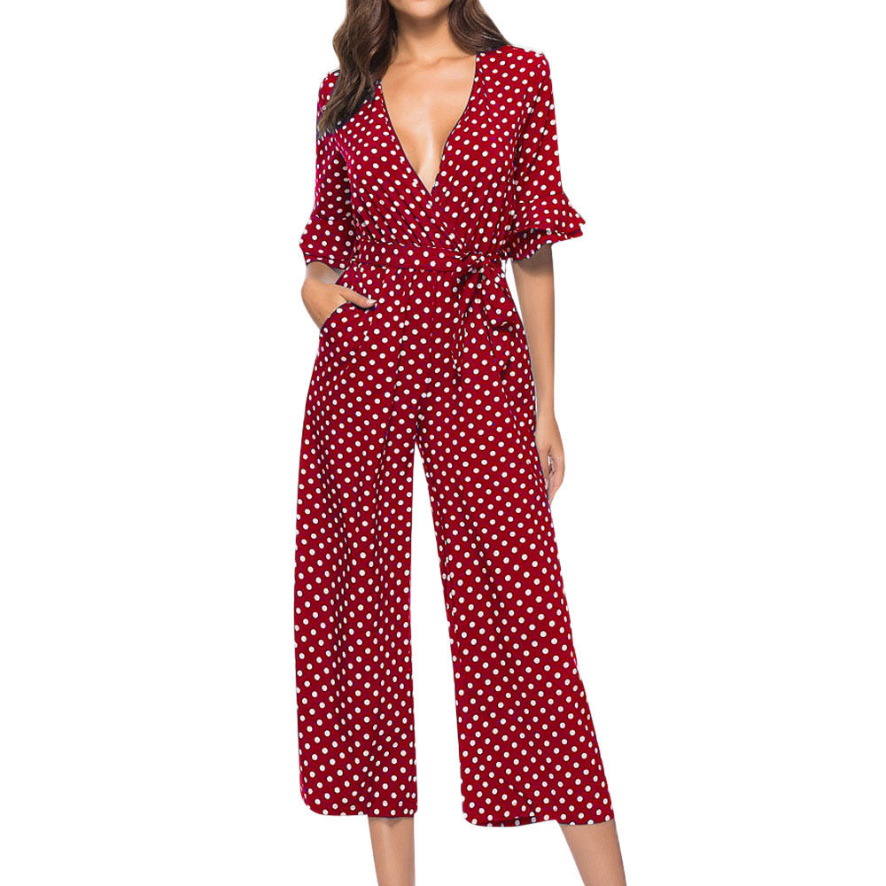 New Women Polka Dot Printed V-neck Wide Leg Pants Long   Jumpsuit   Bandage Playsuit   Jumpsuits   For Women 2019 Macacao Feminino 10