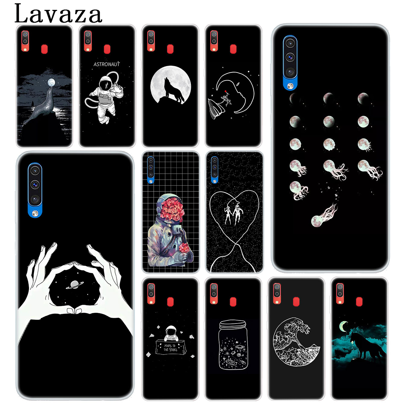 Half-wrapped Case Dependable Lavaza Black With White Moon Stars Space Astronaut Hard Phone Case For Samsung Galaxy A10 A30 A40 A50 A70 M10 M20 M30 Cover To Rank First Among Similar Products