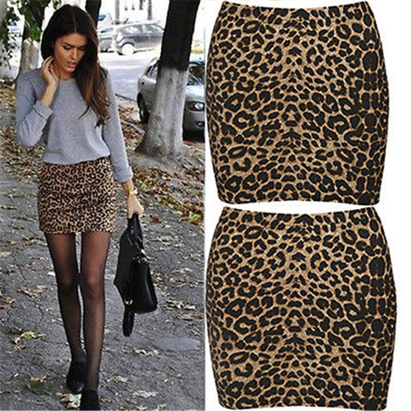 2017 Fashionest Summer Womens Sexy Animal Leopard Print Pencil Ladies Bodycon  Mini-skirts