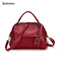 Bokinslon Woman Big Retro Bags PU Leather Solid Color Women Shoulder Bags Fashion Temperament Female Crossbody Bag