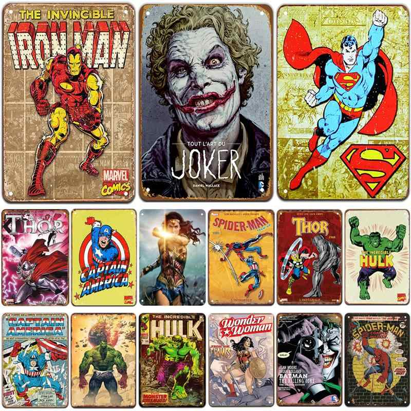 SuperHero Plaque Metal Vintage Tin Sign Pin Up Shabby Chic Decor Metal Signs Vintage Bar Decoration Metal Poster Pub Metal Plate