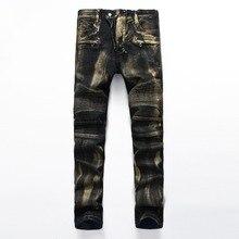 Европейский Американский Стиль известный бренд мужчины джинсы роскошные мужские джинсовые брюки Тонкий Прямой черный джентльмен молнии джинсы для мужчин