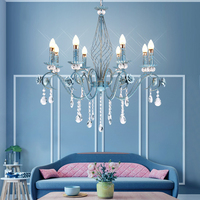 Scandinavian Flower Rose Crystal Led E14 Blue Hanging Lamp Nordic Drawing Sitting Living Room Pendant Lights Decorative Lighting