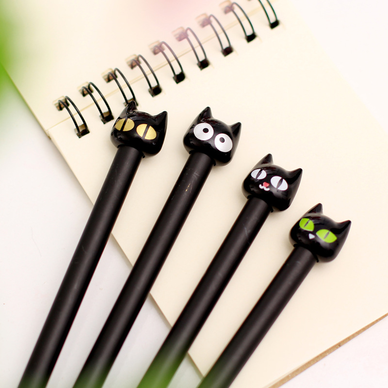 0.5mm Hot Sale Brief Styling Novelty Black Cute Cat Gel Ink Pen Promotional Gift Stationery School Office Writing Pens