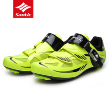 Santic Men Breathable Cycling Shoes Ultralight Road Bike Shoes Professional Nylon TPU Sole Wear-resistant Bicycle Locking Shoes