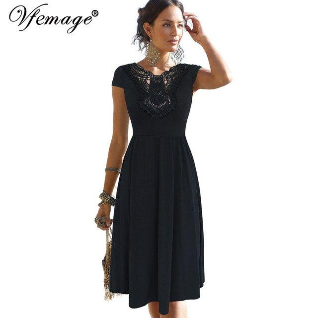 94fd45245273 Vfemage Womens Elegante Applique Ricamo Uncinetto Pizzo V-back Pieghe  Tunica Vintage Casual Party Battenti