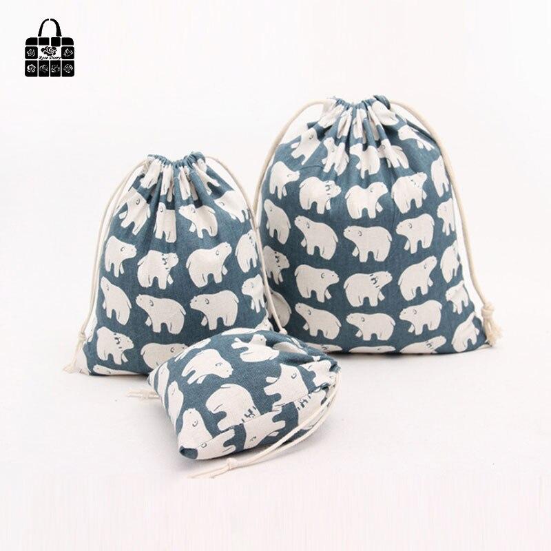 1 Stücke Polar Bär 100% Baumwolle Tasche Reise Zubehör Kleidung Unterwäsche Schuhe Kinder Spielzeug Lagerung Pouch Gepäck Verpackung Organisatoren Tasche