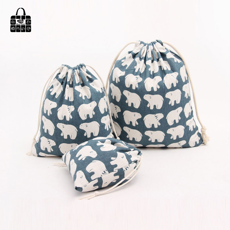 1pcs Polar Bear 100% Cotton Bag Travel Accessories Clothes Underwear Shoes Kids Toy Storage Pouch Luggage Packing Organizers Bag