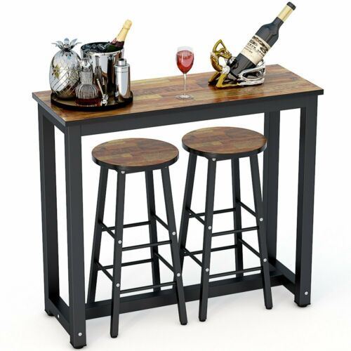 Pub Table Set 3 Piece Bar Stools Dining Kitchen Furniture ...