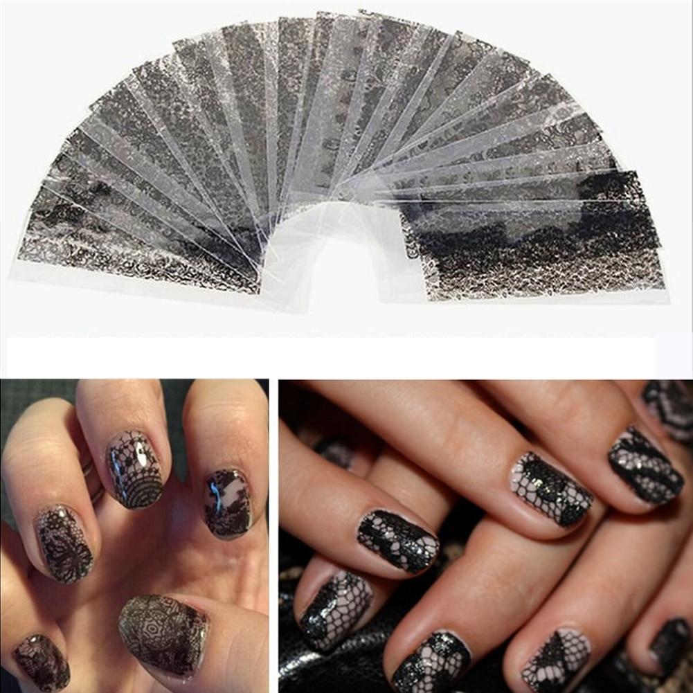 20 Folhas 20 * 4 cm Lace UV Gel Etiqueta Da Folha Do Prego Adesivos DIY Nail Art Stickers Decalques de Transferência de Folha Floral Black Sticker Decal