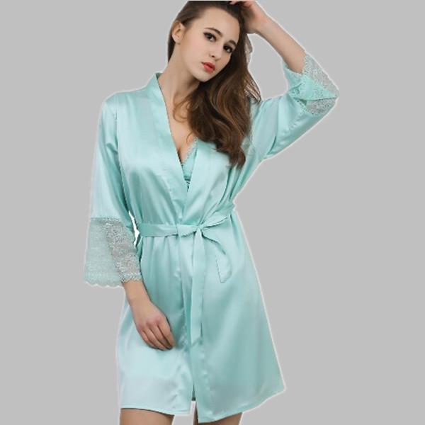 Vestes das mulheres 2016 nova primavera verão mulheres vestidos de dama de honra robes roupão de banho das senhoras pijamas mujer robe de cetim de seda roupão