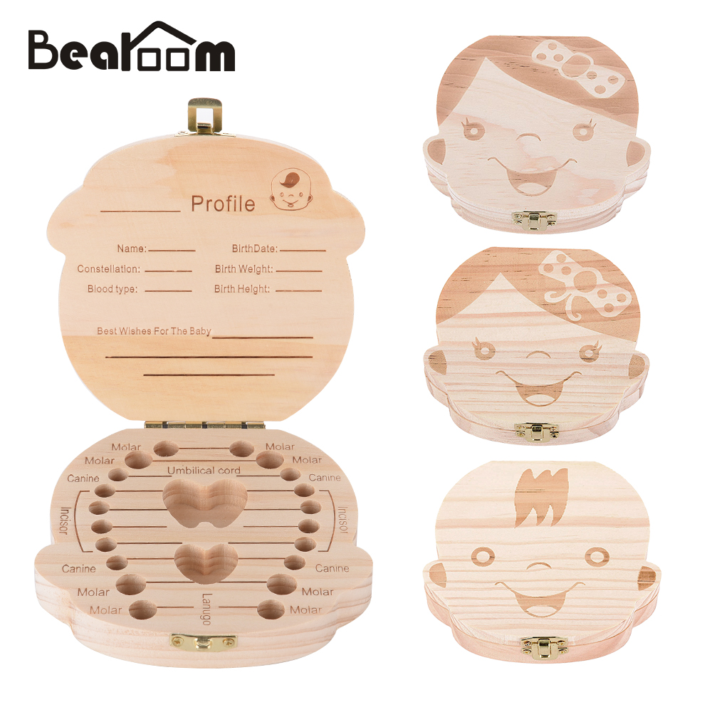 Baby Organizer Dental Teeth Box Milk Tooth Wooden Container Save Storage Collecting Teether Safe Wood Storage Boxes For Boy Girl
