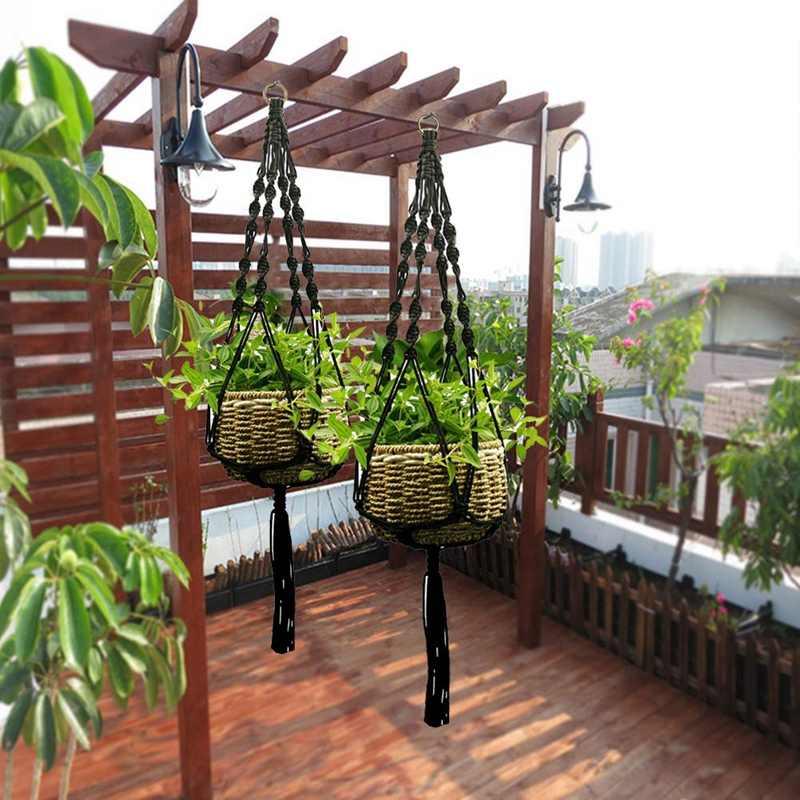 Planta-Linked Indoor E Ao Ar Livre Cesta de Suspensão Vaso Corda de Algodão, Garland Planta Stand, 2 Peças