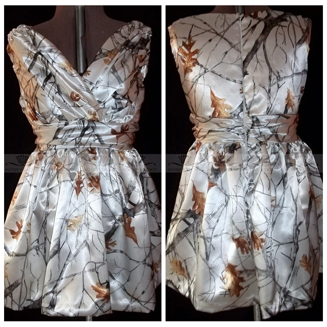 886ef93b2fa7e V-Neck White Camo Mother Of Bride Dresses 2017 Plus Size Summer Short Mini  Camouflage Party Gowns For Mother's Vestidos