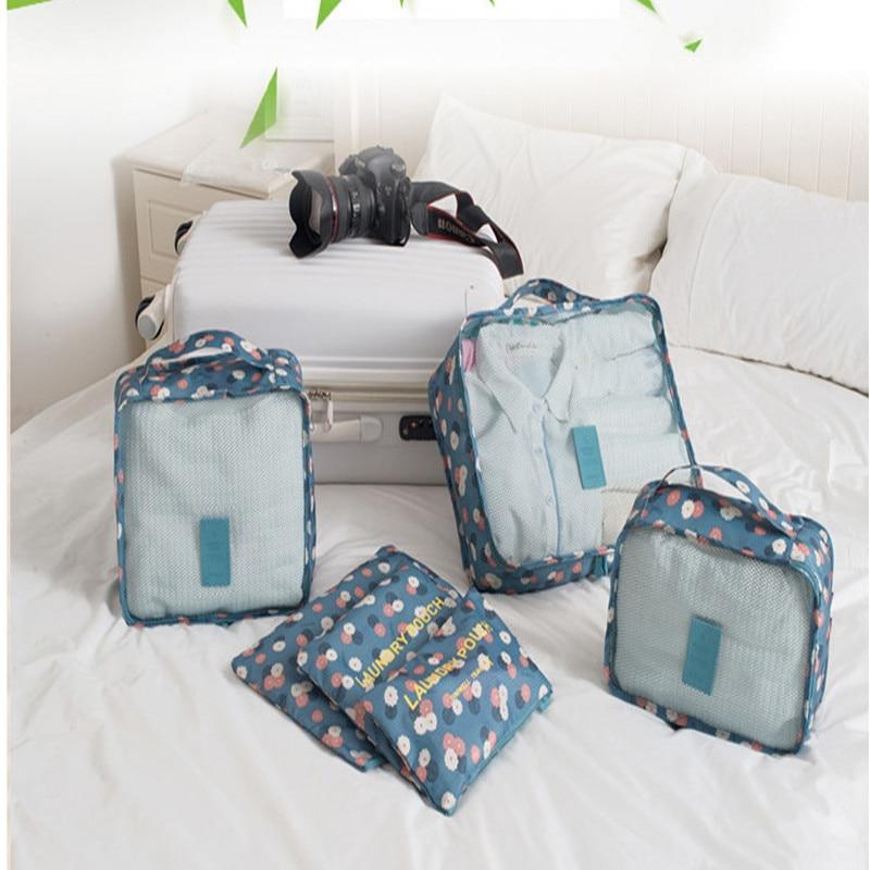 6ピース/ロット旅行収納袋セット用服整頓オーガナイザーポーチスーツケースホームクローゼットディバイダーコンテナオーガナイザー