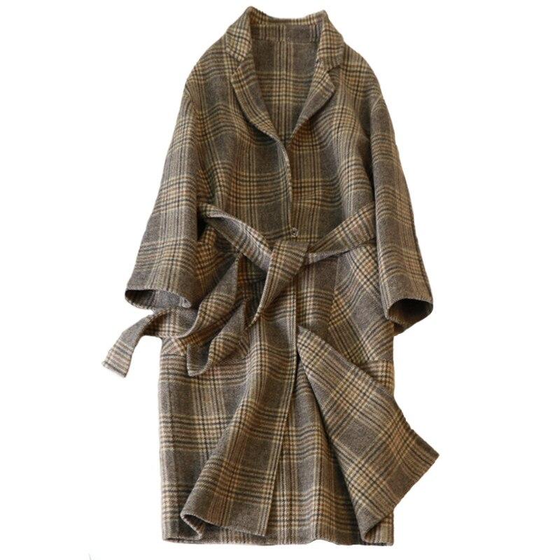 Cachemire Survêtement Laine D'hiver Arrivée Nouvelle 2017 Plaid Femelle Moyen Manteau Mince De Femmes face Double long 100 PqpH4