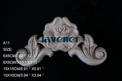 A11-6x6cm Wood Carved Corner Onlay Applique Unpainted Frame Door Decal Working Carpenter Flower