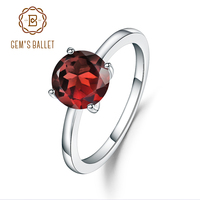 GEM'S BALLET 925 Sterling Silver Four Prong Petite Comfort Fit Ring 2.36Ct Round Natural Red Garnet Engagement Rings For Women