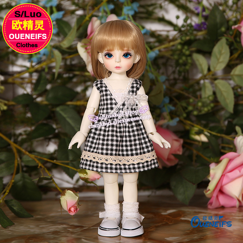 OUENEIFS free shipping 1/6 bjd sd body clothes with lace , lovely Plaid Dress red, black, blue, three colors optional YF6 to 119