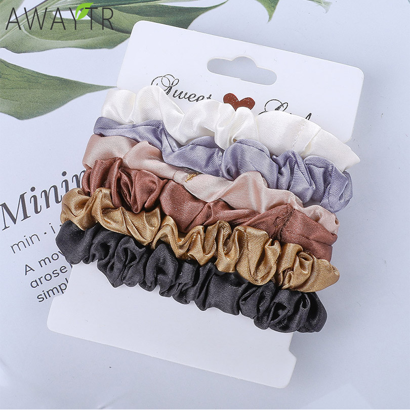 AWAYTR Scrunchie Hairbands Hair Tie Women For Hair Accessories Satin Scrunchies Stretch Ponytail Holders Handmade Gift Heandband
