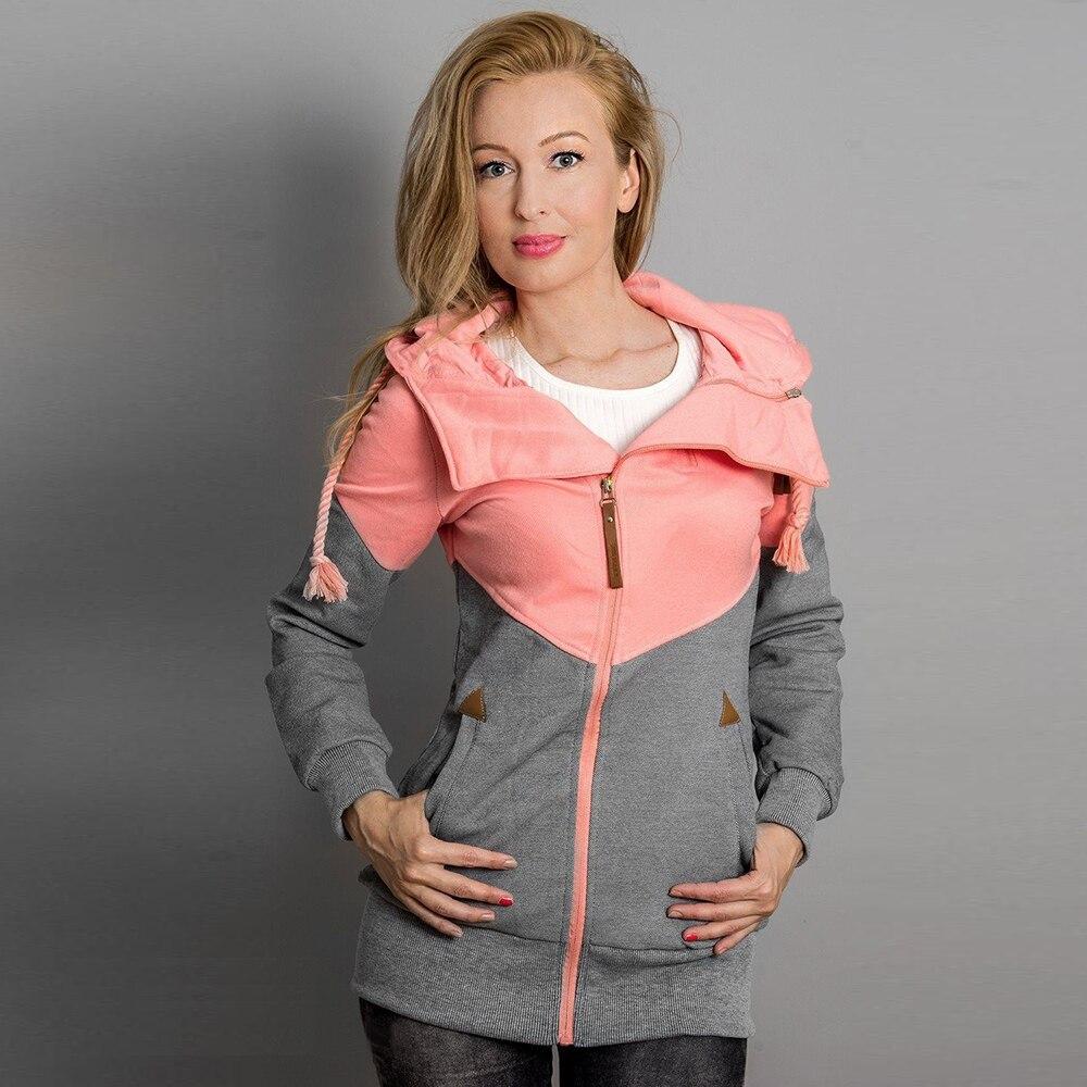 Winter Korean Harajuku Hoodie Sweatshirt Hooded Women Casual Long Sleeve Patchwork Pullover Hoodies Moletom Tracksuits Grey Pink
