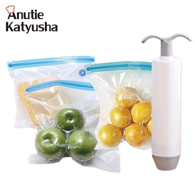 Reusable Vacuum Bags 1pc Hand Food Sealer Pump Waterproof Storage Bag Fresh Sealing Packaging Kitchen Accessories