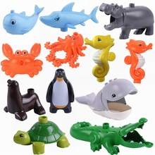 Legoing Blocks Duplo Marine Animals Shark Whale Hippocampus Crab Octopus Large Building Blocks Toys for Children Duplo Animal(China)
