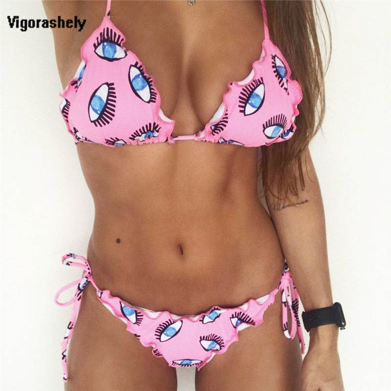 Vigorashely <font><b>2018</b></font> <font><b>Sexy</b></font> Pink <font><b>Swimsuit</b></font> String Thong <font><b>Bikini</b></font> Push Up <font><b>Swimwear</b></font> <font><b>Women</b></font> Eye Print <font><b>Brazilian</b></font> <font><b>Bikini</b></font> Beach Bathing Suit image
