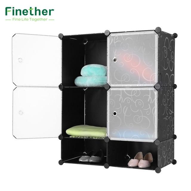 Amazing Finether 6 Cubes Curly Patterned Black Interlocking Modular Storage  Organizer Shelving System 4 Enclosed Cubes 2
