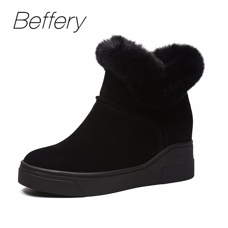 Beffery Women's Winter Boots Fashion Metal Stars Decoration Sheepskin Snow Boots Warm Wool Wedges Shoes Woman Suede Ankle Boots ensemble stars 2wink cospaly shoes anime boots custom made