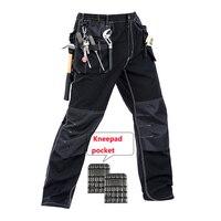 Bauskydd Мужчины рабочие брюки мульти карманы рабочие брюки со съемными ева наколенники высокое качество worker mechanic грузов работы брюки