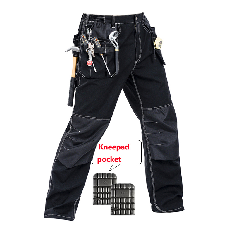 Bauskydd Men working pants multi pockets work trousers with removable eva knee pads top quality worker mechanic cargo work pants bauskydd ce eva knee pads for work kneelet for work pants genouillere knee protection detachable removable knee pads kneepads
