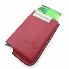 Wholesale New Style Genuine Leather Card Holder Anti-theft RFID Credit Pop Up Automatically Luxury Wallet