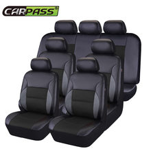 Car-pass Universal 7 Seat Car Seat Covers Pvc Leather With Airbag Fit 60/40 50/50 40/60 Seat Black & Brown Covers For Car(China)