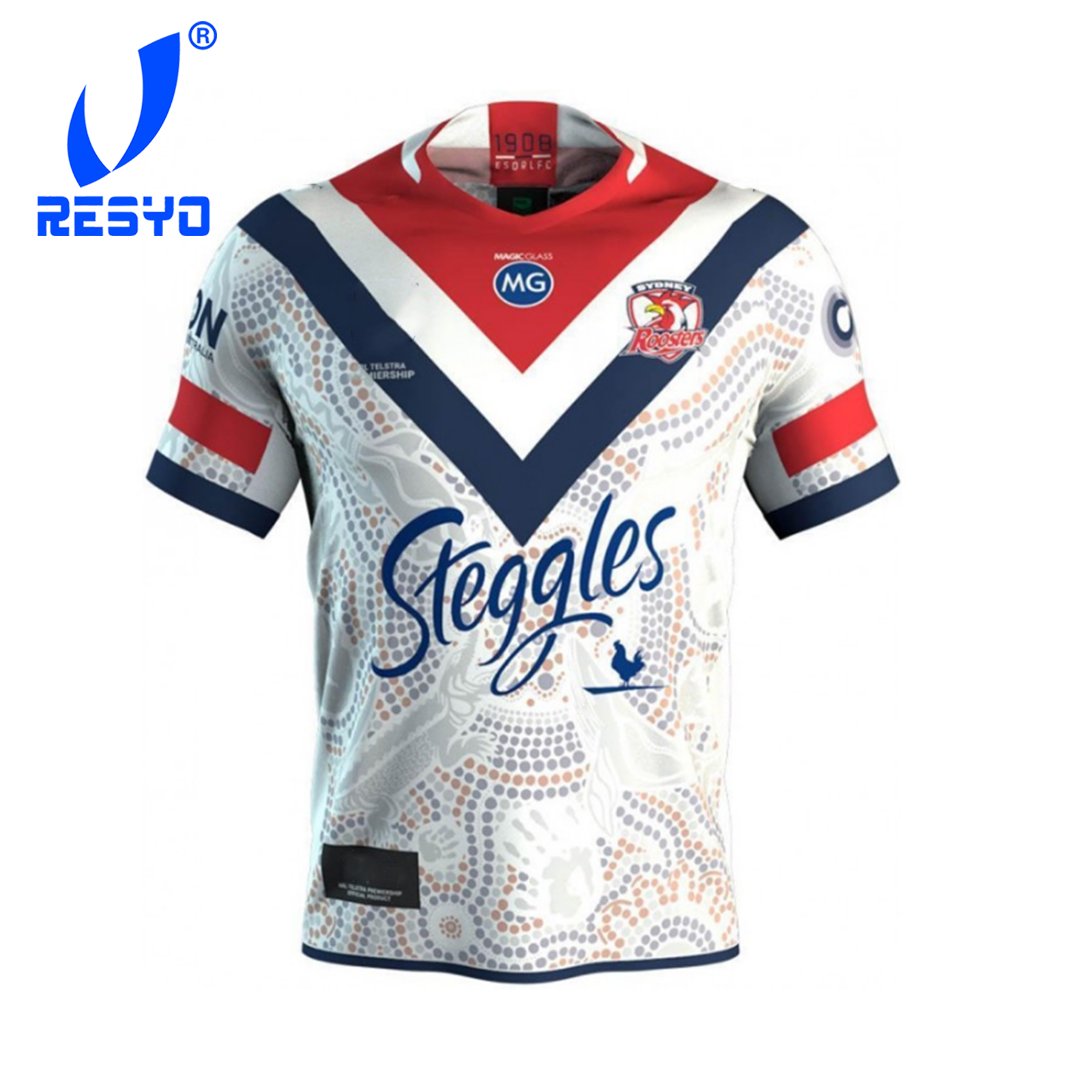 RESYO For Sydney Roosters 2019 Men's Indigenous Rugby Jersey Sport Training Shirt Size:S-XXXL Free Shipping