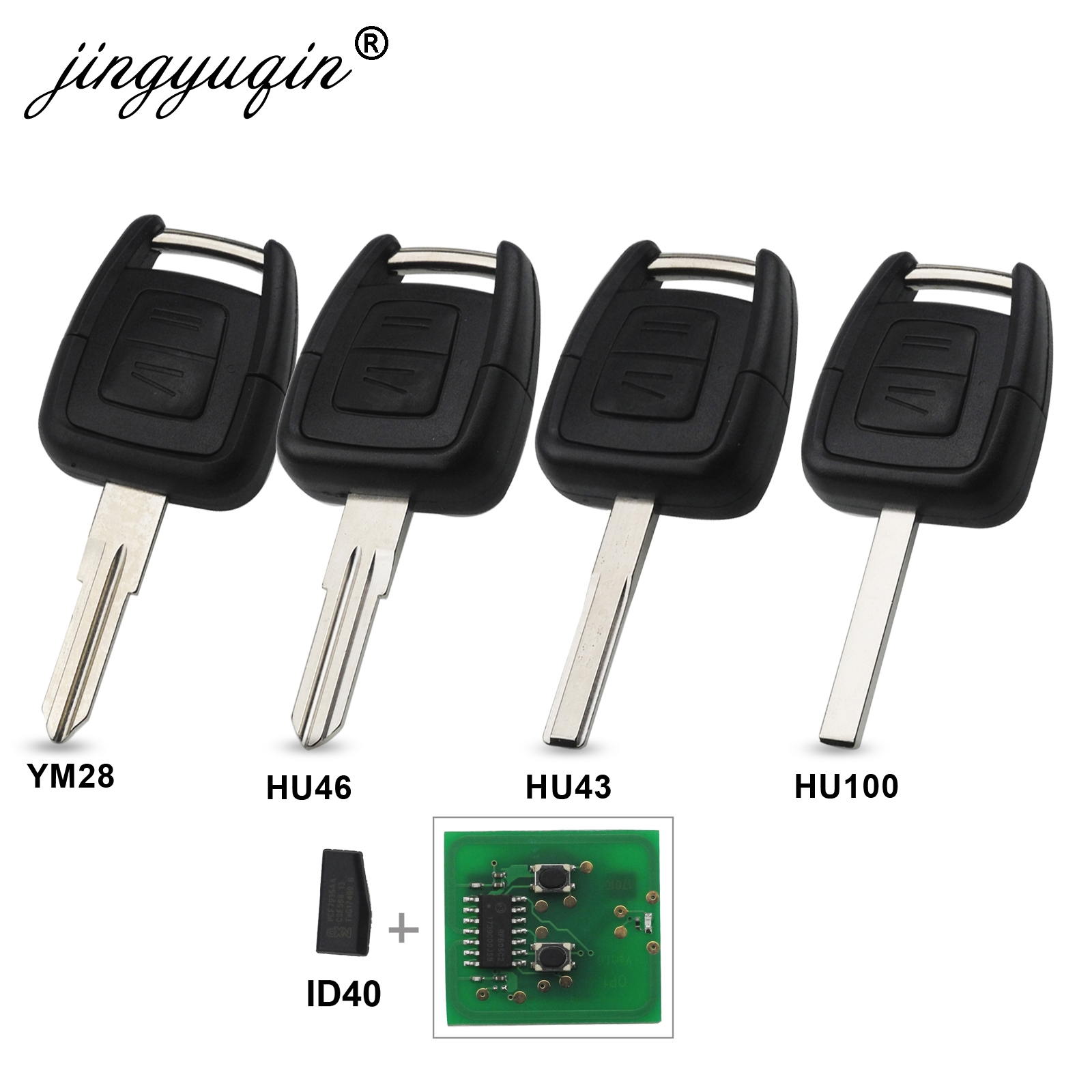Jingyuqin 2 Buttons 433Mhz Fob Remote Key For Opel Vauxhall Vectra Zafira OP1 24424723 With ID40 Chip HU43 HU100 YM28 HU46 Blade