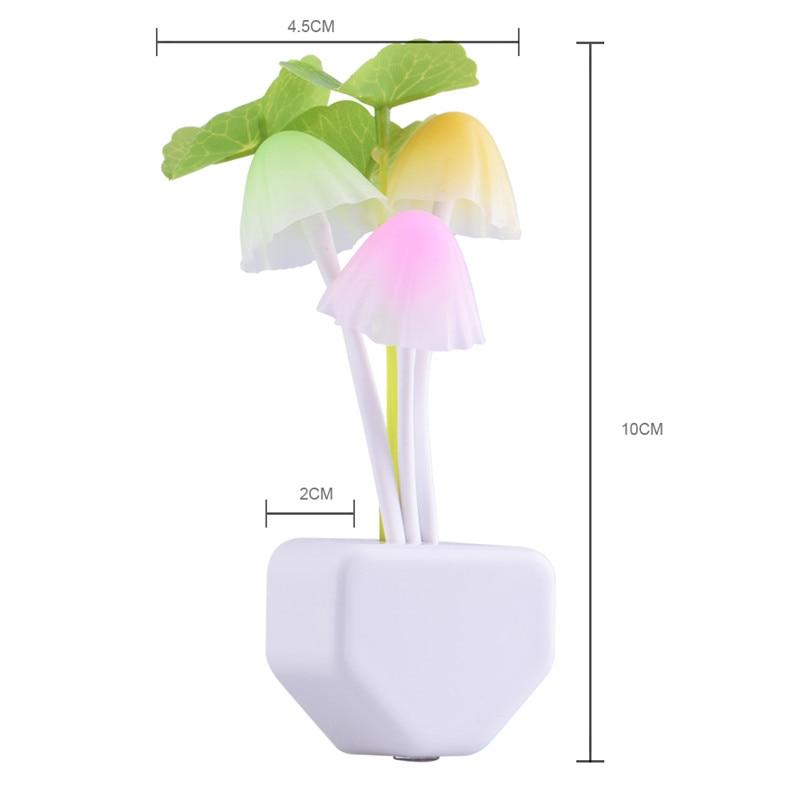 Romantique coloré LED 110-220 V 3 LED S champignon veilleuse lampe de lit éclairage domestique capteur de lumière démarrage automatique EU US Plug