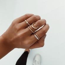 Bohemian 5 Pcs/set Womens Moon Round Irregular Twist Gem Adjustable Gold Ring Party Wedding Set